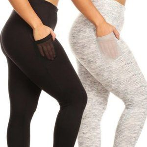 2 Pack Sport Plus Size Leggings w/Pocket - NWT